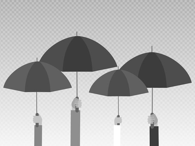 Mãos segurando guarda-chuvas pretos isolados em fundo transparente.