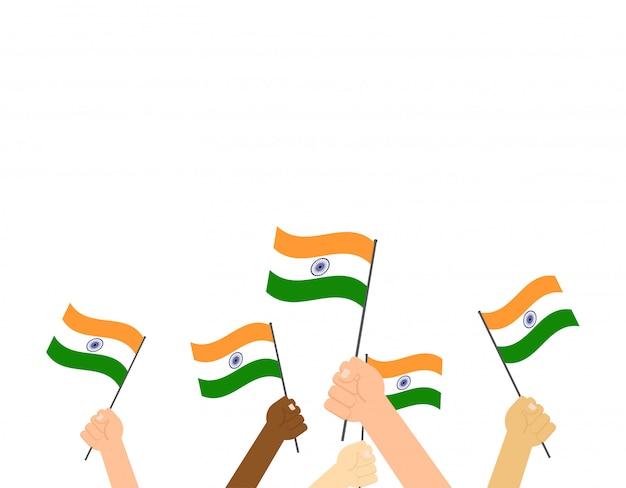 Mãos, segurando, indianas, bandeiras
