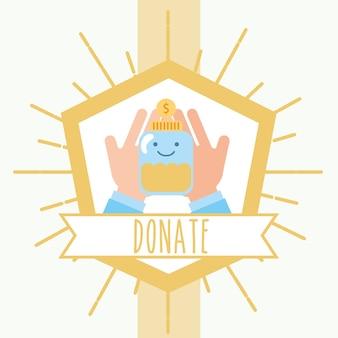 Mãos segurando jarra moedas dinheiro retrô emblema caridade