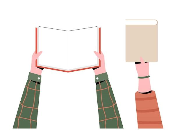Mãos segurando livros