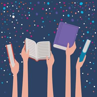 Mãos, segurando, livros