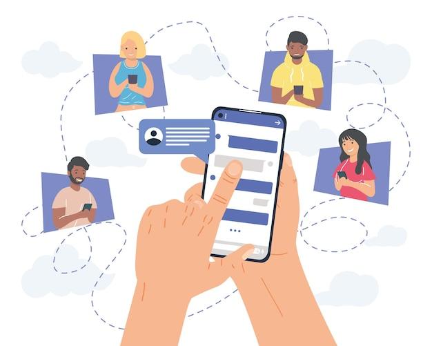 Mãos segurando mensagens de smartphone