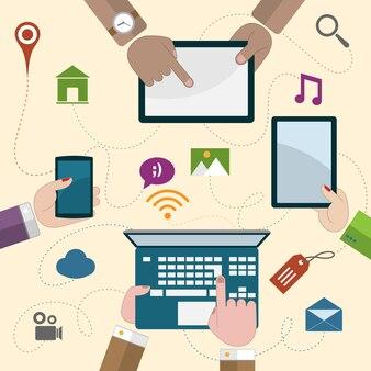 Mãos, segurando, móvel, dispositivos