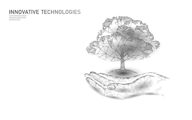Mãos segurando o conceito abstrato ecológico de árvore de planta. render o plantio de folhas de mudas de solo. salvar o planeta natureza, o meio ambiente, crescer a vida. triângulos de polígonos ecológicos