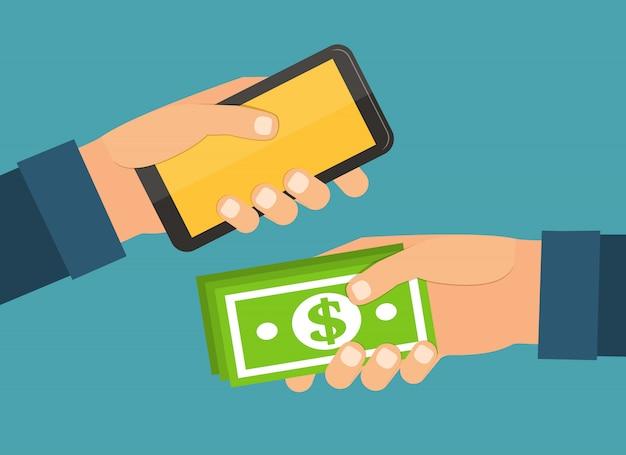 Mãos segurando o dinheiro, móvel. troca e compra. ilustração em vetor design plano.