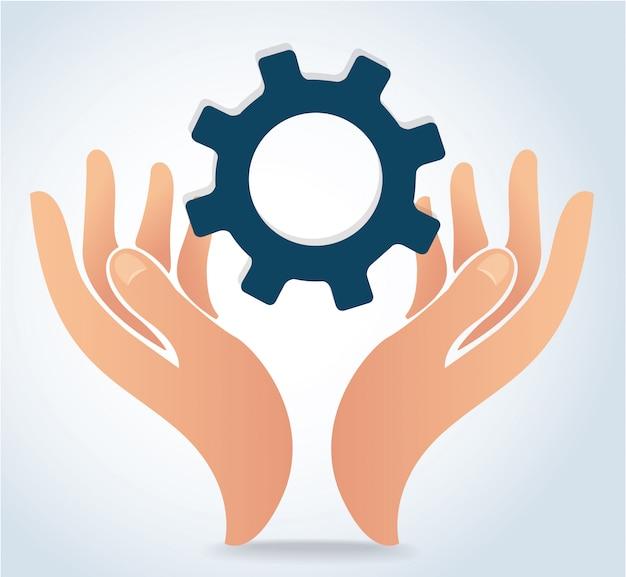 Mãos segurando o ícone de logotipo de design de engrenagem