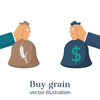 Mãos segurando sacos de grãos e dinheiro
