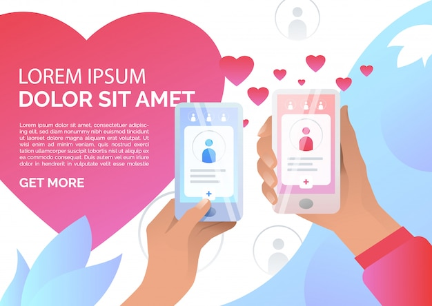Mãos segurando smartphones com aplicação de namoro on-line