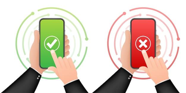 Mãos segurando smartphones com conjunto de marcas de seleção