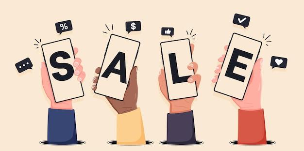 Mãos segurando smartphones e mostram venda compras online com telefones celulares