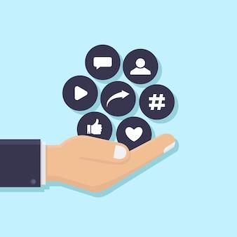 Mãos, segurando, social, mídia, ícones