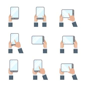 Mãos segurando tablet pc smartphone mão tocando ícones de tela estilo simples telefone móvel e sinais de gestos de tablet digital.