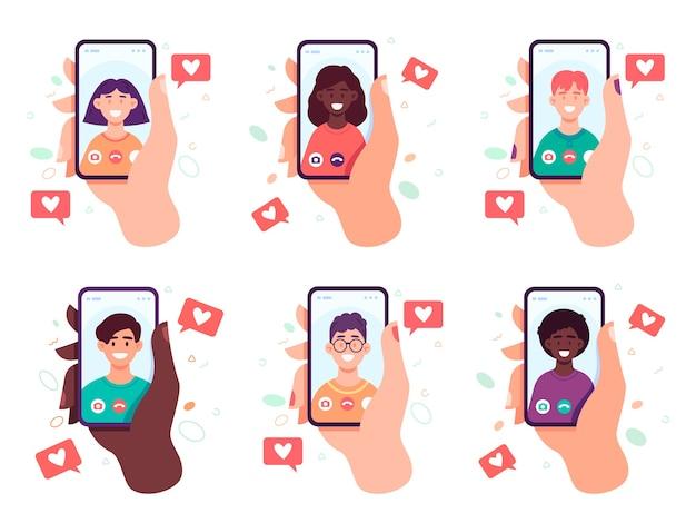 Mãos segurando telefones inteligentes. tela de toque do dedo, envio de mensagem ou conceito de chat de vídeo.