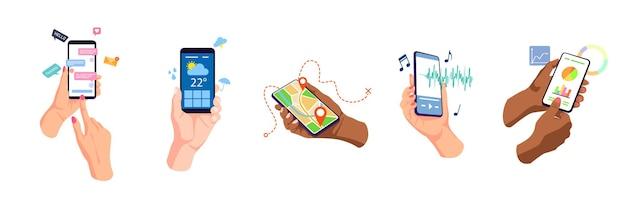 Mãos segurando, tocando telas de telefones celulares, usando o conjunto de aplicativos online.