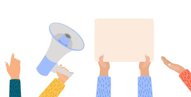 Mãos segurando um cartaz em branco, megafone, cartazes de protesto e mão vazia, isolado no fundo branco.