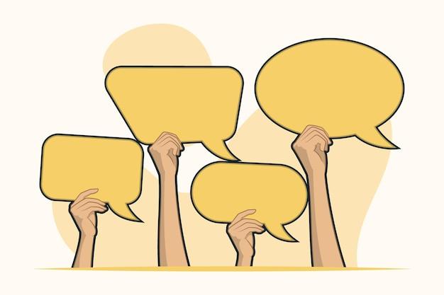 Mãos segurando um conceito de balões de fala