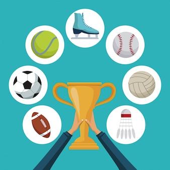 Mãos segurando um copo de troféu de ouro com ícones elementos esporte em quadros circulares ao redor