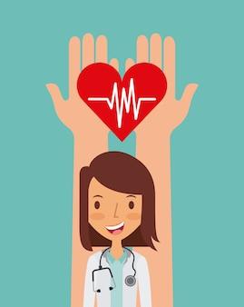 Mãos segurando um coração cardio e ícone do médico de mulher