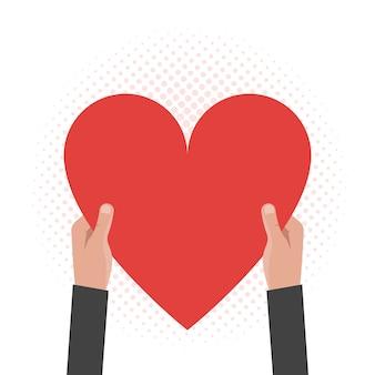 Mãos segurando um coração. conceito de cartões postais, saudação, dia dos namorados, dia das mães. ilustração vetorial