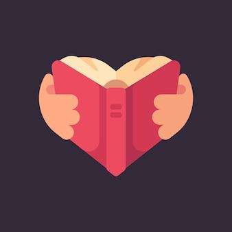 Mãos, segurando, um, livro, em, a, forma, de, um, coração
