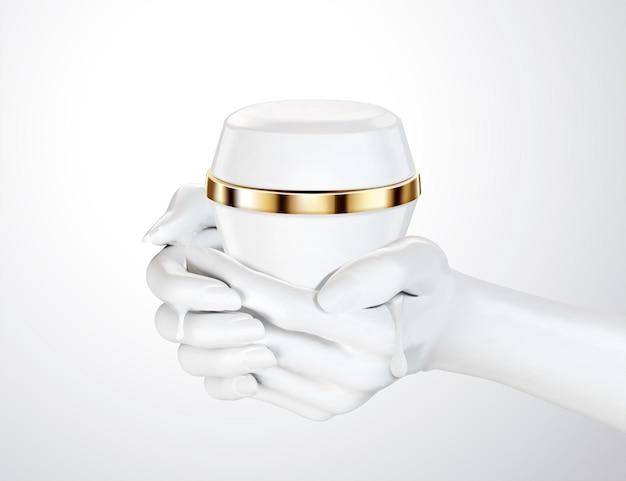 Mãos segurando um pacote de frasco de creme branco isolado no fundo na ilustração 3d