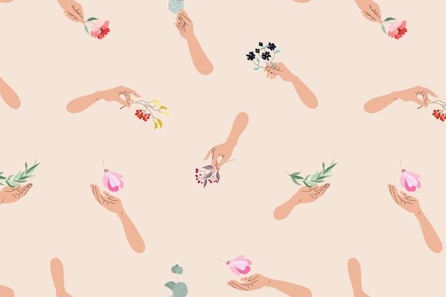 Mãos segurando um padrão de flores. femininas mãos segurando uma variedade de flores e galhos. abstrato design padrão desenhado à mão para web, impressão. ilustração moderna de mãos e elementos florais.