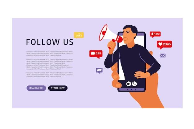 Mãos segurando um smartphone com um homem gritando no alto-falante. marketing de influência, mídia social ou promoção de rede. ilustração vetorial plano.
