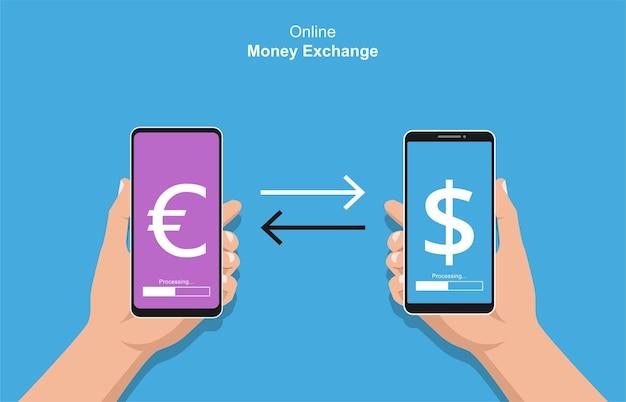 Mãos segurando um smartphone fazendo o conceito de transações. ilustração de troca de dinheiro online