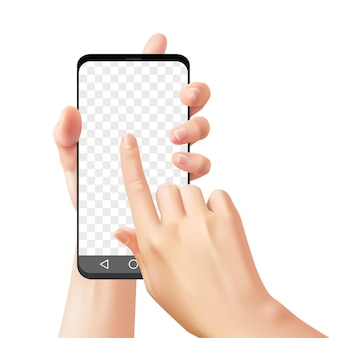 Mãos segurando um smartphone. mulher usa telefone celular para comunicação online, bate-papo com aplicativo, maquete de vetor de dispositivo de tela de celular de toque realista de mão em fundo transparente