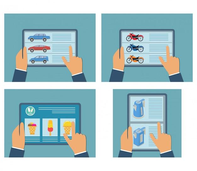 Mãos segurando um tablet on-line comprando uma motocicleta, carro, chaleira, comida.