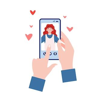 Mãos segurando um telefone com desenho de aplicativo de bate-papo de namoro isolado