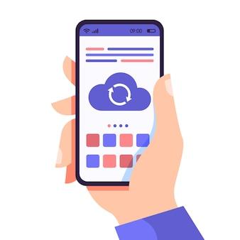 Mãos segurando um telefone com sincronização em nuvem, conceito de serviços em nuvem de telefone, tecnologia de usuários de dispositivos de rede, ilustração plana em vetor para design de sites e banners