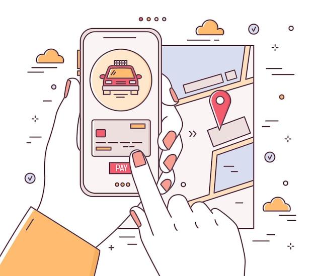 Mãos segurando um telefone e fazendo o pagamento, mapa da cidade com marca de localização