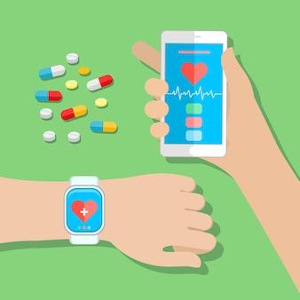 Mãos segurando um telefone sensível ao toque e relógio inteligente com sensor de saúde de aplicativo móvel. ilustração em vetor design plano