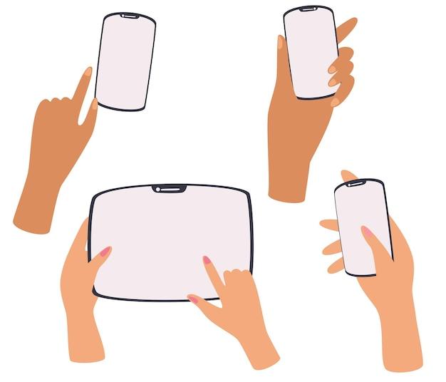 Mãos segurando um telefone tablet smartphone conjunto de diferentes gestos telefone na mão