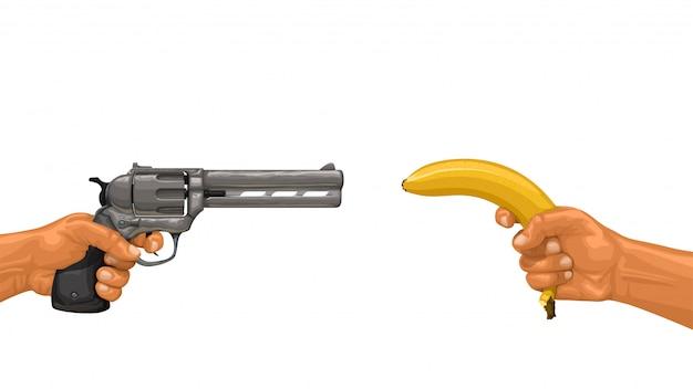 Mãos segurando uma arma e banana