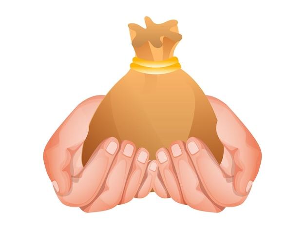 Mãos segurando uma bolsa dourada no fundo branco para doação