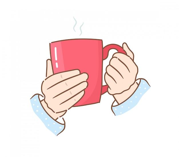 Mãos segurando uma caneca vermelha com uma bebida quente. ilustração em estilo simples.