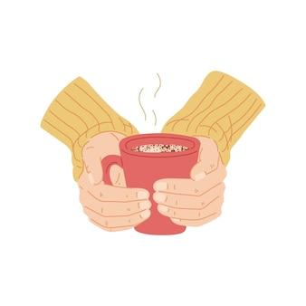 Mãos segurando uma caneca vermelha de bebida quente ilustração vetorial plana dos desenhos animados isolada