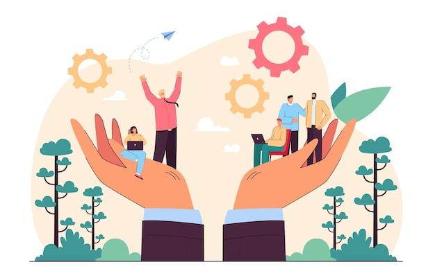 Mãos segurando uma equipe de pequenos empresários