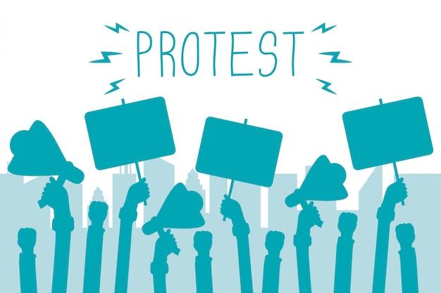 Mãos segurando uma faixa de protesto e ilustração de megafones