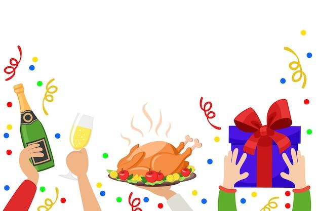 Mãos segurando uma garrafa de champanhe, uma taça, um peru assado e uma caixa de presente em um fundo branco. fundo de natal.