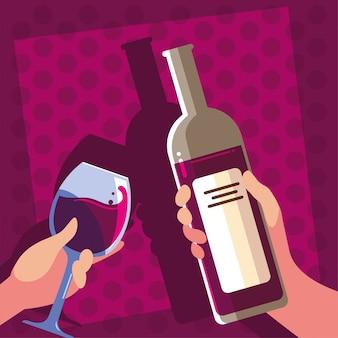 Mãos segurando uma garrafa e um copo de vinho