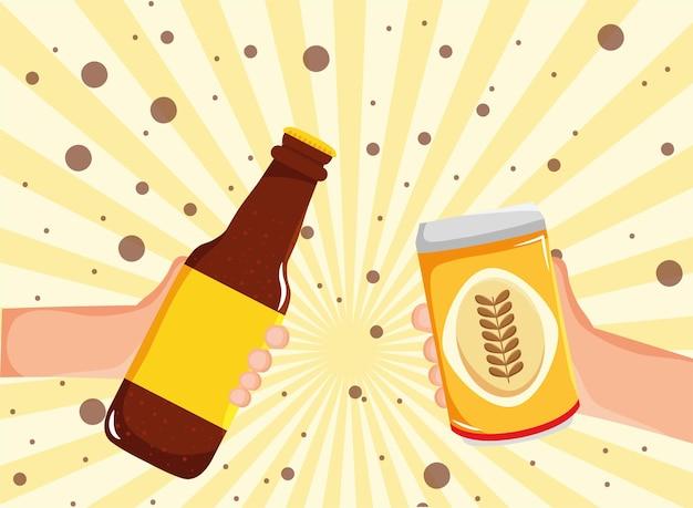 Mãos segurando uma garrafa e uma lata de cerveja