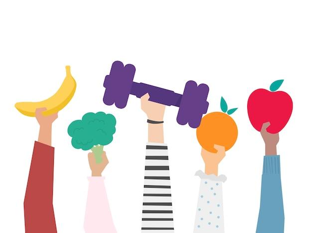 Mãos segurando uma ilustração de itens de estilo de vida saudável