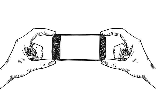 Mãos segurando uma ilustração gráfica de vetor de telefone. fazendo foto, selfie, apresentação de produto, publicidade. preto e branco