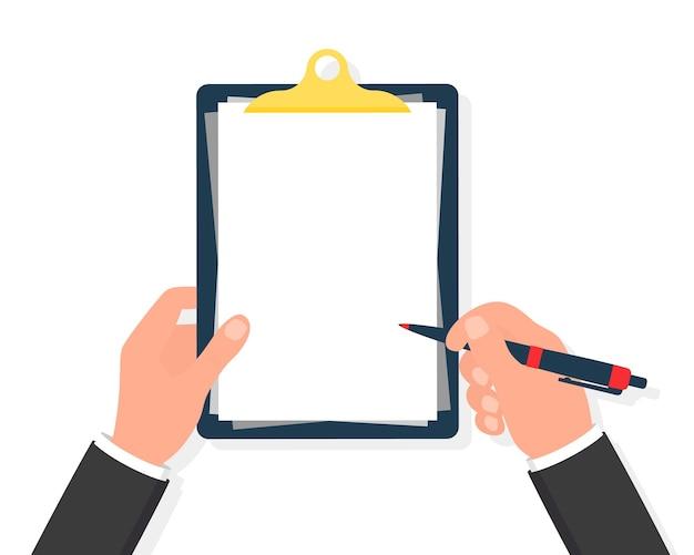 Mãos segurando uma prancheta com caneta. em branco vazio. caneta na mão. lista de verificação da área de transferência em mãos