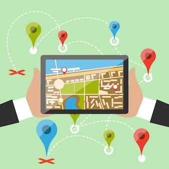 Mãos segurar smartphone com mapa da cidade imaginária com gps