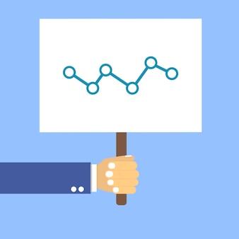 Mãos segurar uma mesa com um gráfico em azul