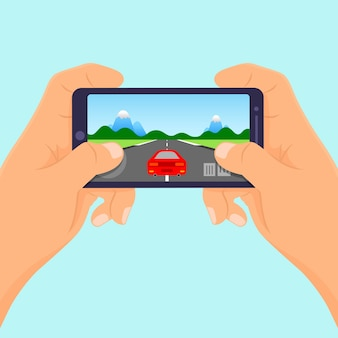 Mãos segure smartphone jogando jogos